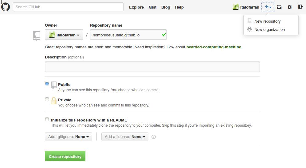 Crear repositorio GitHub